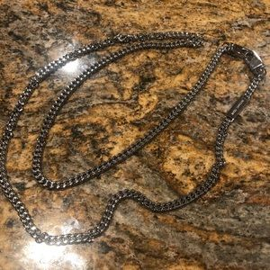 Men's long Michael Kors silver necklace